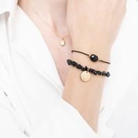 A Beautiful Story Edelstein Karte - Schwarzer Onyx  Goldenes Armband