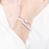 A Beautiful Story Edelsteen Kaart - Blauwe Agaat Zilveren Armband