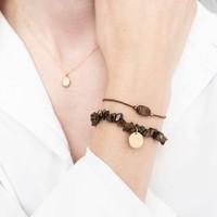 A Beautiful Story Edelstein Karte - Tigerauge Goldenes Armband