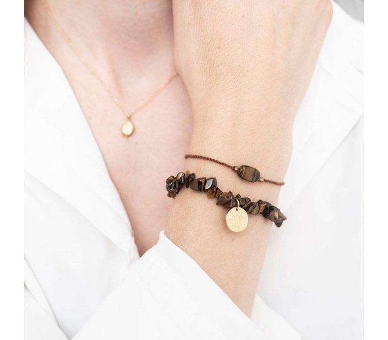 A Beautiful Story Edelsteen Kaart - Tijgeroog Gouden Armband