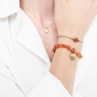 A Beautiful Story Edelstein Karte- Karneol Goldenes Armband