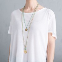 A Beautiful Story Rosary Gold Necklace - Aventurine