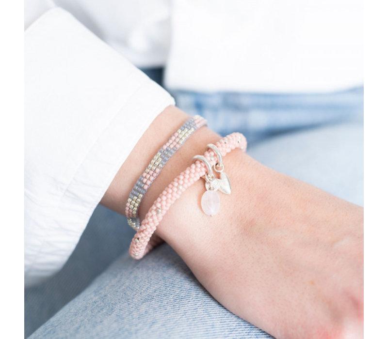 A Beautiful Story Sunlight Zilveren Armband - Rozenkwarts