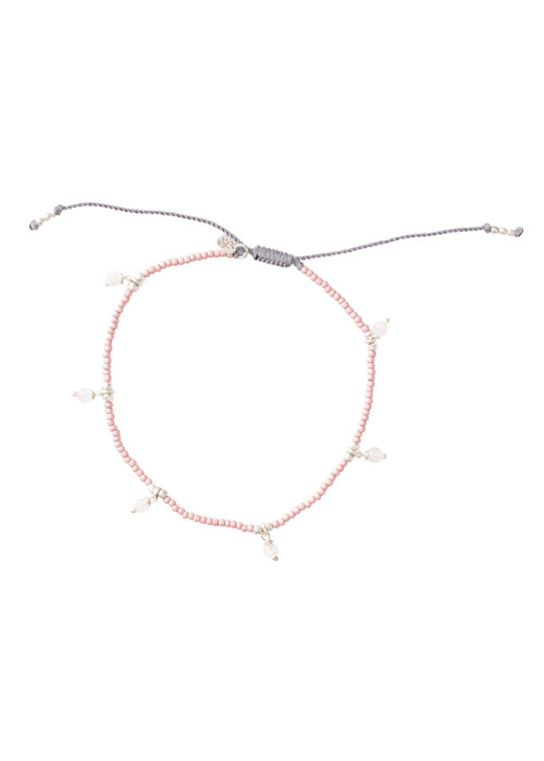 A Beautiful Story A Beautiful Story Dreamy Silver Anklet - Rose Quartz