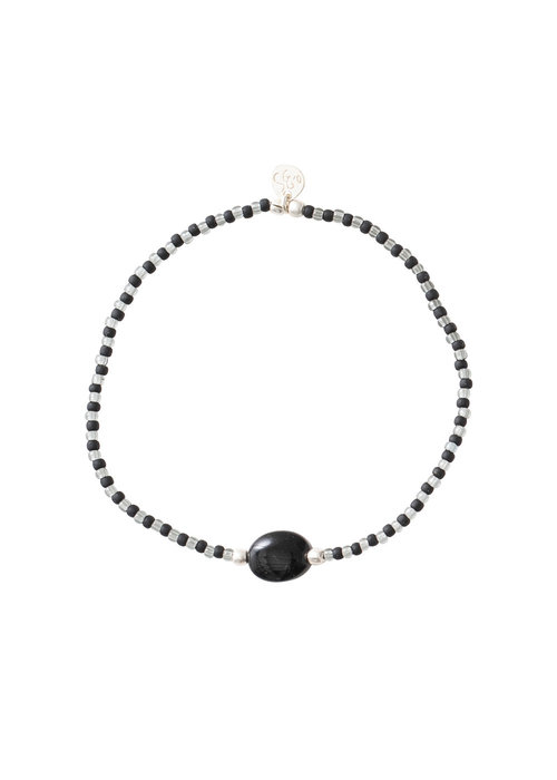 A Beautiful Story A Beautiful Story Summer Zilveren Armband - Zwarte Onyx