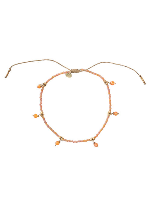 A Beautiful Story A Beautiful Story Dreamy Gold Anklet - Carnelian