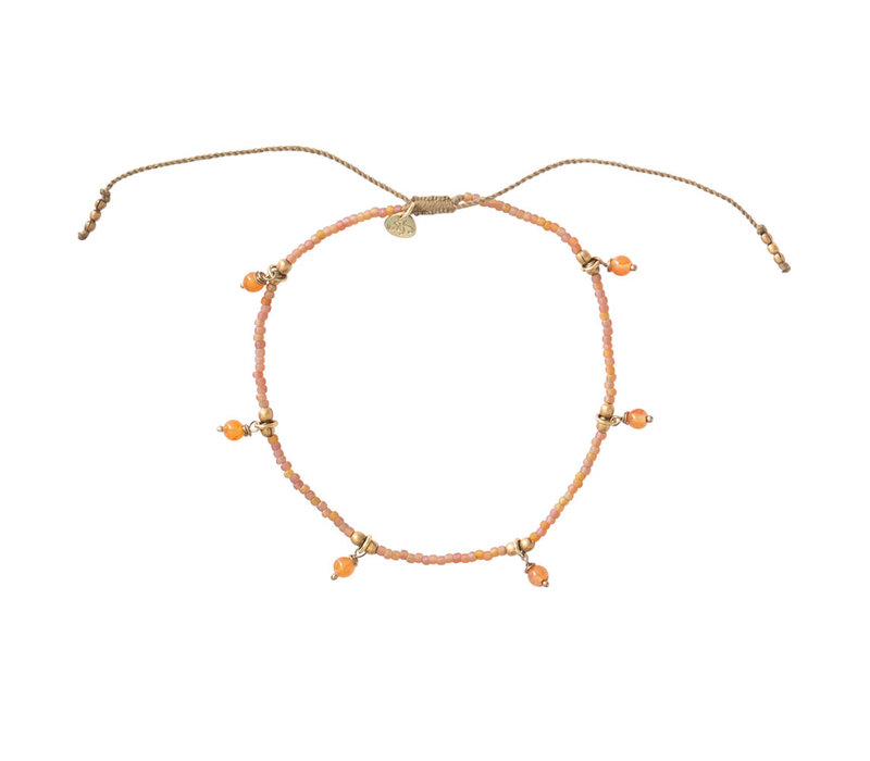 A Beautiful Story Dreamy Gold Anklet - Carnelian