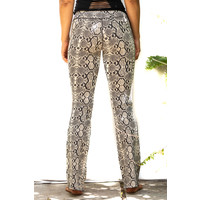 Funky Simplicity Flared Legging - Cream Brown Snake