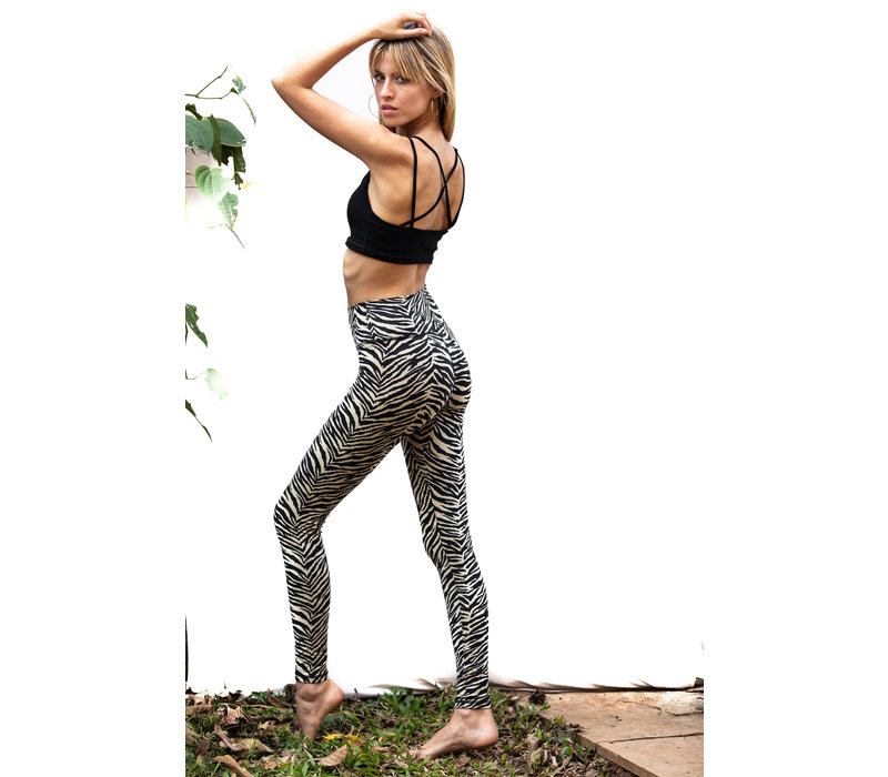 Funky Simplicity High Waist Legging - Cream Black Zebra