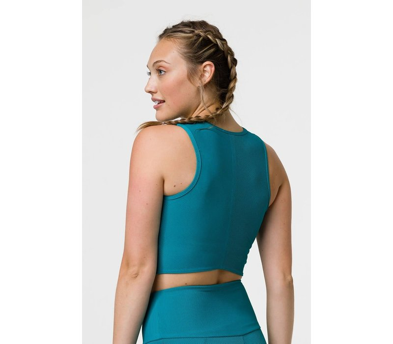 Onzie Front Twist Crop - Teal Rib