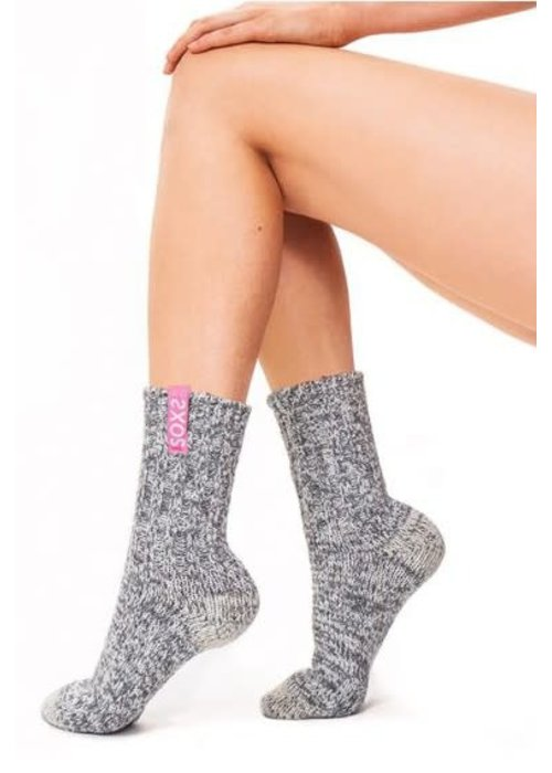 Soxs Soxs Women's Anti-Slip Socks - Grey/Blossom Half High