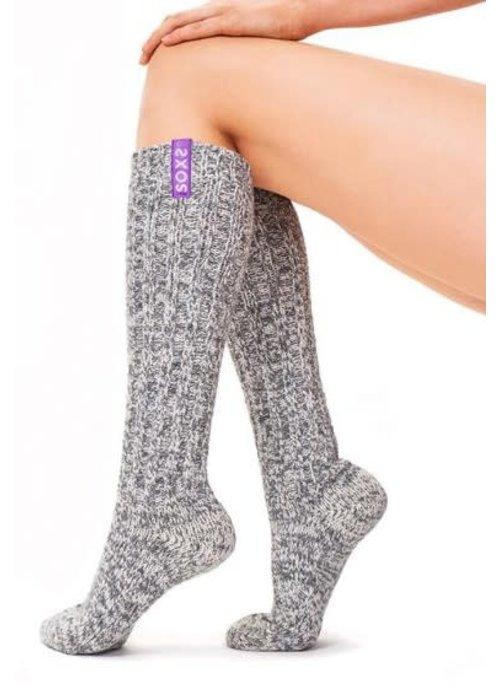 Soxs Soxs Women's Anti Slip Socks - Grey/Violet Knee High