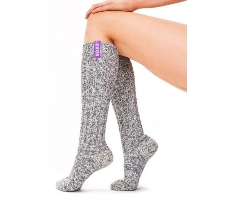 Soxs Dames Antislip Sokken - Grey/Violet Knee High