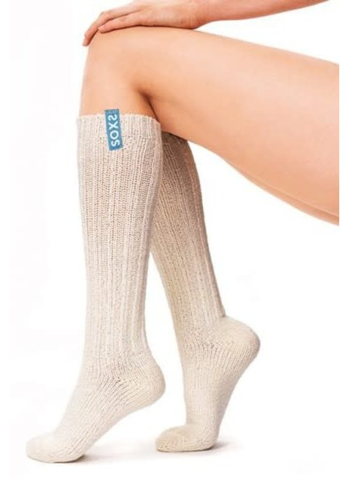 Soxs Soxs Dames Sokken - Off White/Sage Green Knee High