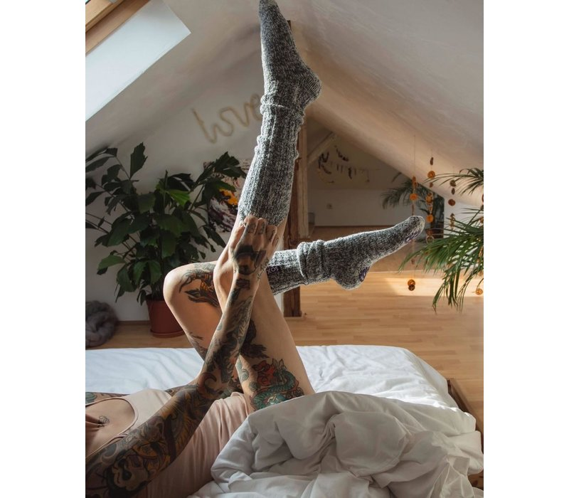 Soxs Women's Anti Slip Socks - Grey/Violet Knee High