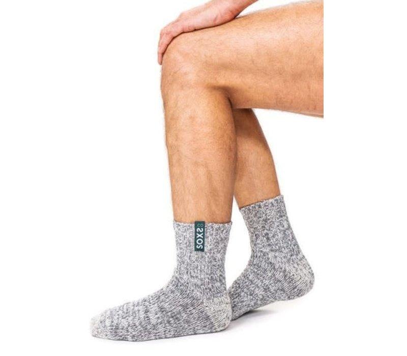 Soxs Herren Anti-Rutsch-Socken - Grey/Fair Green Half High