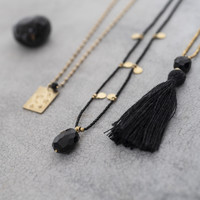 A Beautiful Story Charming Gold Necklace - Black Onyx