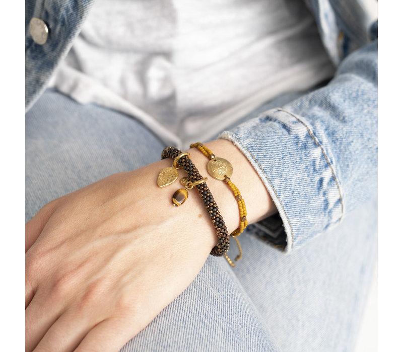 A Beautiful Story Gratitude Gold Bracelet - Tiger Eye