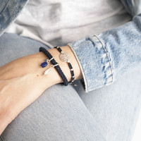 A Beautiful Story Gratitude Zilveren Armband - Lapis Lazuli