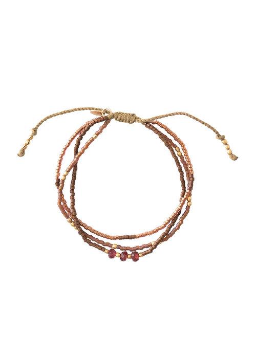 A Beautiful Story A Beautiful Story Gentle Gold Bracelet - Garnet