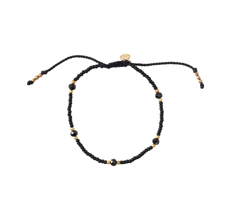 A Beautiful Story Friendly Gouden Armband - Zwarte Onyx