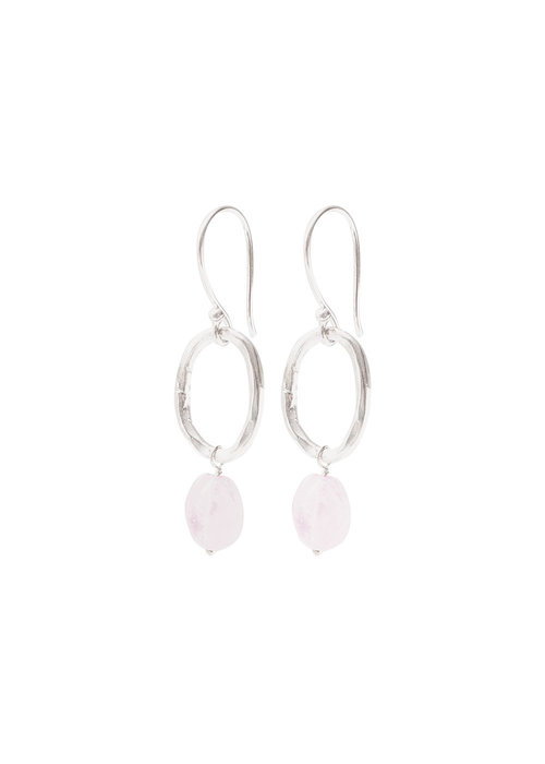 A Beautiful Story A Beautiful Story Graceful Silver Earrings - Rose Quartz