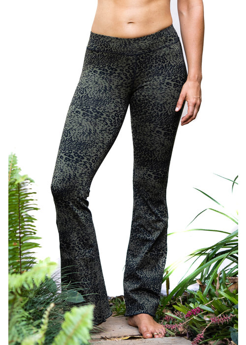 Funky Simplicity Funky Simplicity Flared Legging - Olive Black Leopard