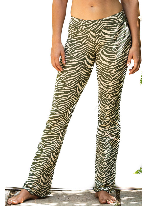 Funky Simplicity Funky Simplicity Flared Legging - Cream Olive Zebra