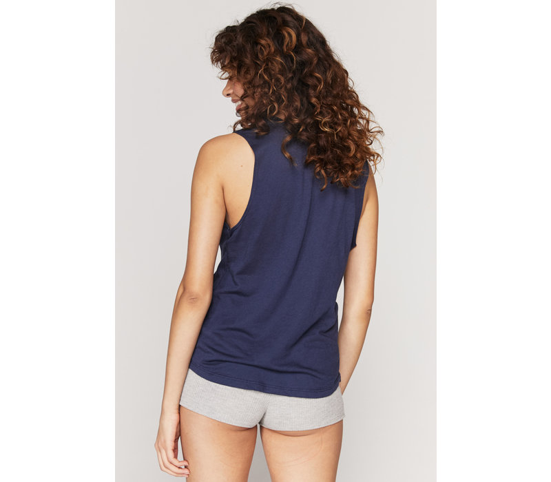 Spiritual Gangster Mystical Muscle Tank - Dusty Navy