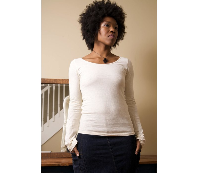 Sweetskins Long Sleeve Scoop Tee - Natural
