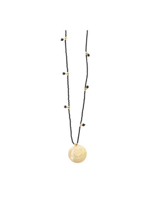 A Beautiful Story A Beautiful Story Radiant Gouden Ketting - Zwarte Onyx
