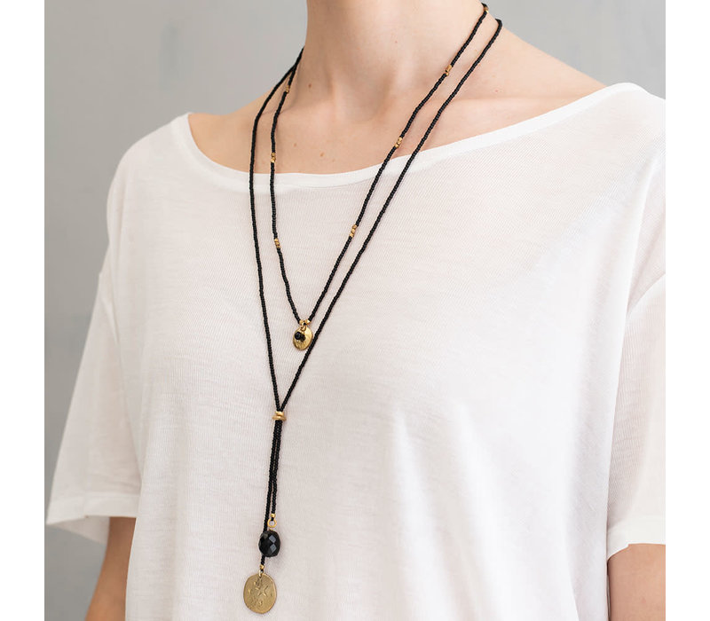A Beautiful Story Truly Gold Necklace - Black Onyx