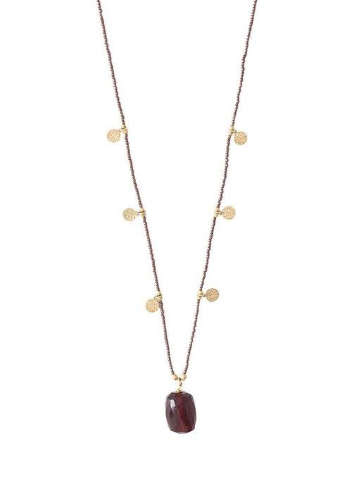 A Beautiful Story A Beautiful Story Charming Gold Necklace - Garnet