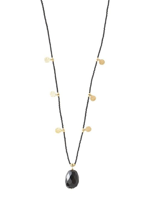 A Beautiful Story A Beautiful Story Charming Gold Necklace - Black Onyx