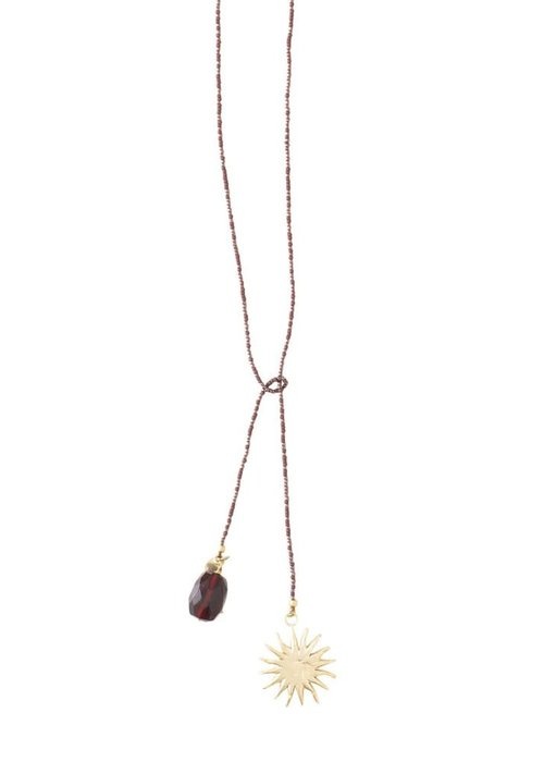 A Beautiful Story A Beautiful Story Nova Gold Necklace - Garnet