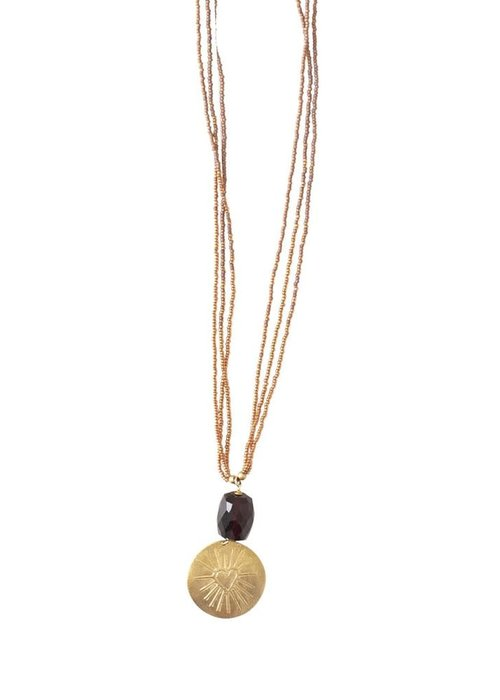 A Beautiful Story A Beautiful Story Cheerful Gold Necklace - Garnet
