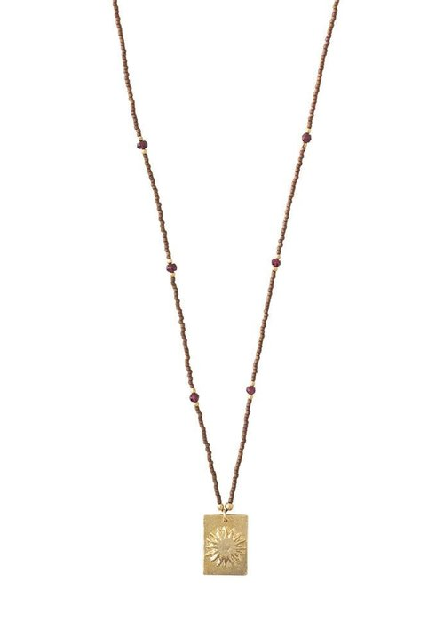 A Beautiful Story A Beautiful Story Delight Gold Necklace - Garnet