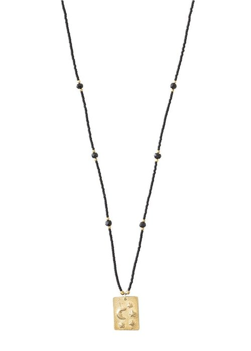 A Beautiful Story A Beautiful Story Delight Gold Necklace - Black Onyx