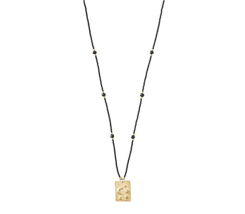 A Beautiful Story Delight Gold Necklace - Black Onyx