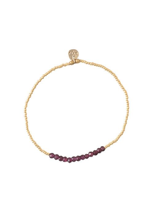 A Beautiful Story A Beautiful Story Refined Gold Bracelet - Garnet