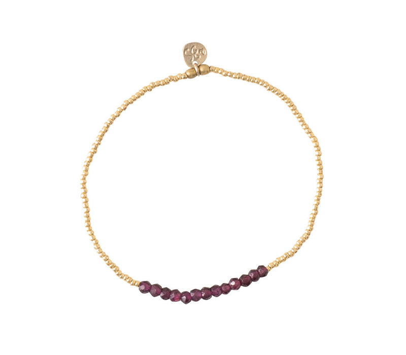 A Beautiful Story Refined Gold Bracelet - Garnet