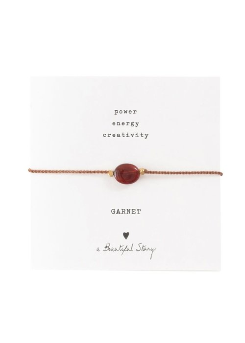 A Beautiful Story A Beautiful Story Edelsteen Kaart - Granaat Gouden Armband