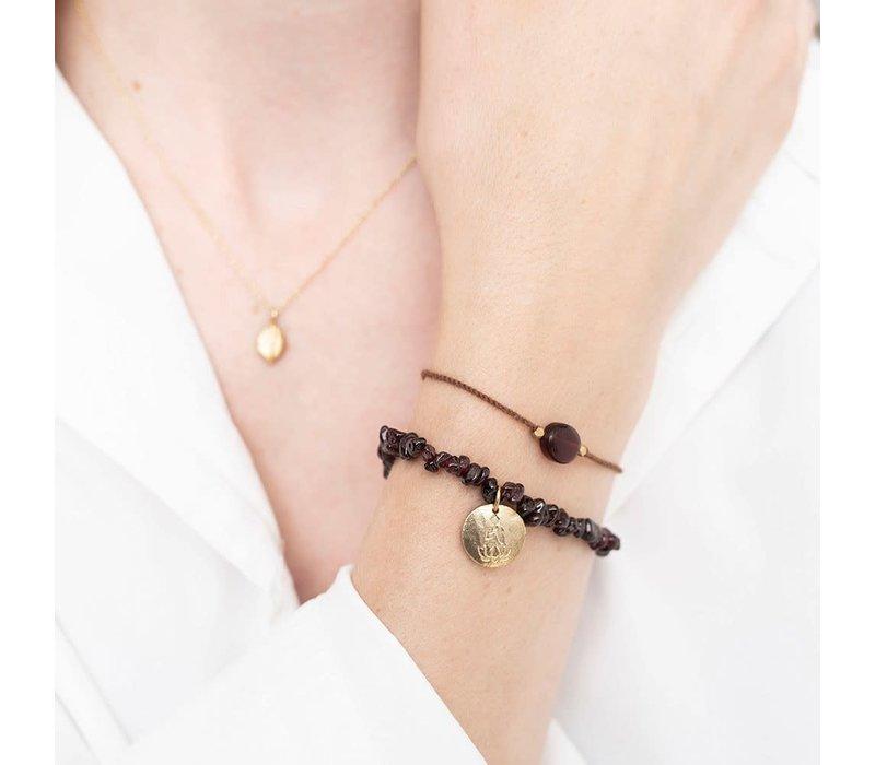 A Beautiful Story Edelsteen Kaart - Granaat Gouden Armband