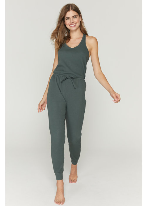 Spiritual Gangster Spiritual Gangster Giselle Rib Jumpsuit - Dusty Olive
