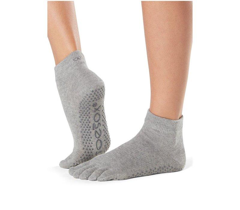 Toesox Yoga Zehensocken Knöchellang - Grau