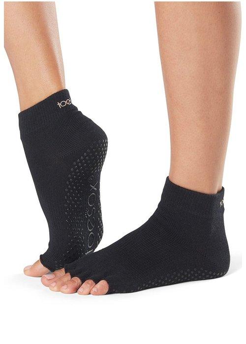 Toesox Toesox Yoga Sokken Enkelhoogte Open Tenen - Zwart