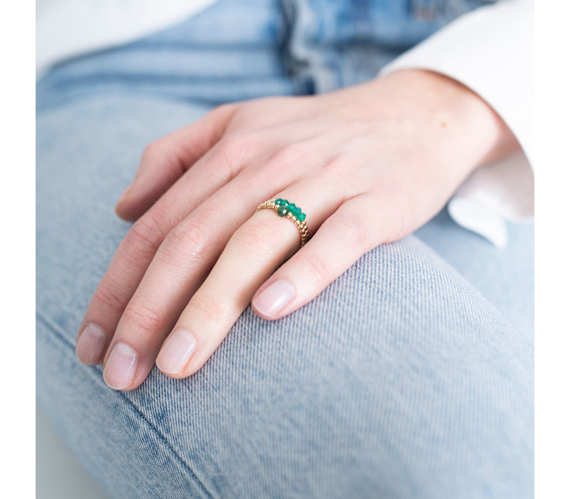 A Beautiful Story Sparkle Goldener Ring - Aventurin