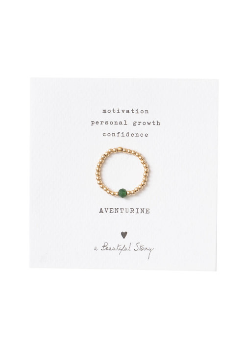 A Beautiful Story A Beautiful Story Sparkle Gouden Ring - Aventurijn
