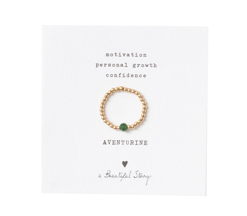 A Beautiful Story Sparkle Gold Ring - Aventurine