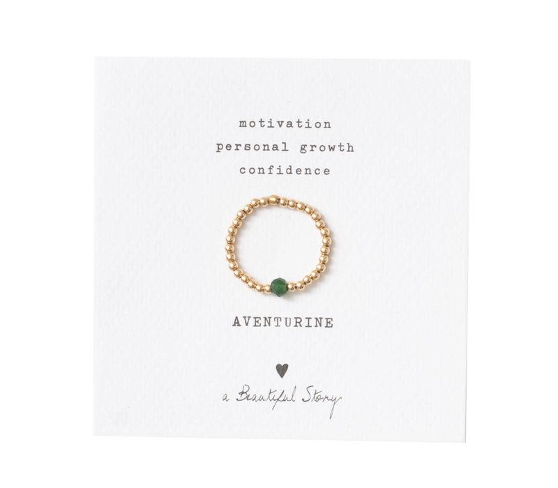 A Beautiful Story Sparkle Gouden Ring - Aventurijn